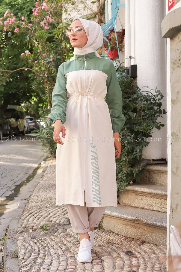 Trench Zippered Green - 3069