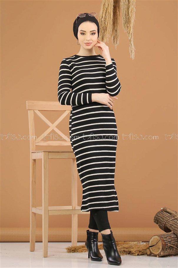 Triko Elbise Siyah - 8261