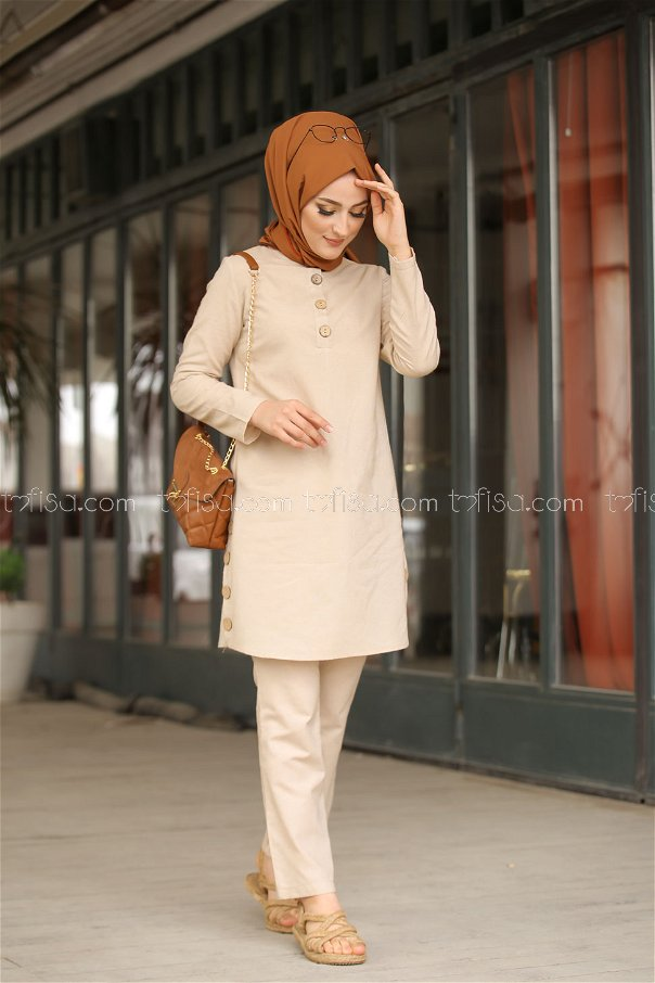Tunic and Pants Beige - 3014
