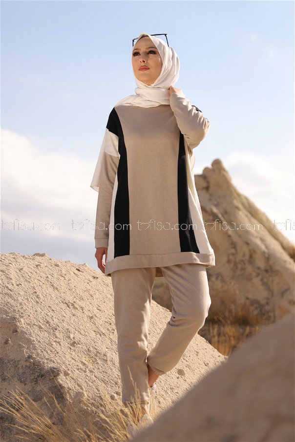 Tunic and Pants Beige - 3097