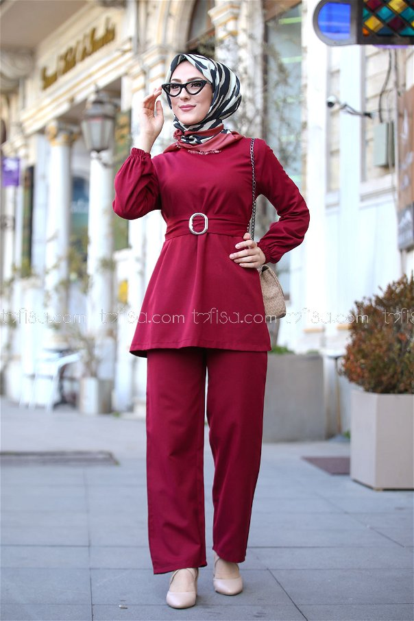 Tunic and Pants Claret Red - 1366