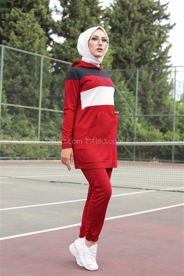Tunic and Pants Claret Red - 2813
