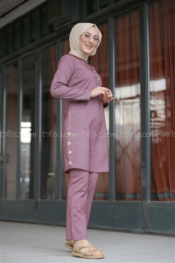 Tunic and Pants Claret Red - 3014