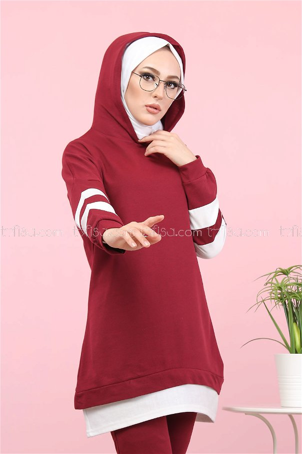 Tunic and Pants Claret Red - 3024