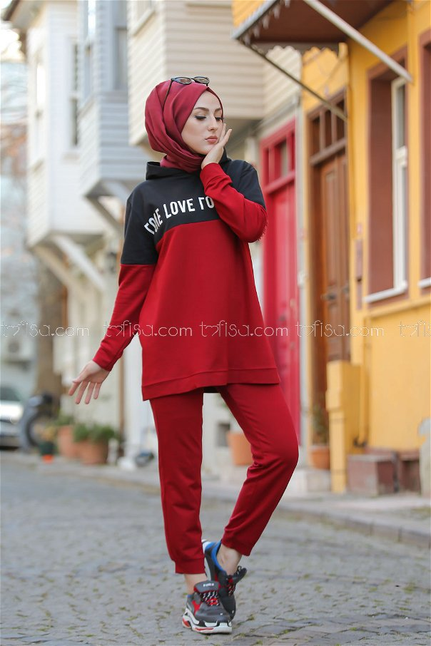 Tunic and Pants Claret Red - 8397