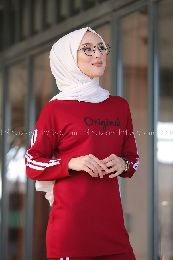 Tunic and Pants Claret Red - 8401