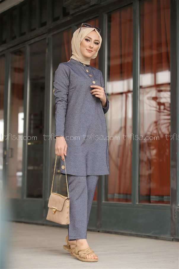 Tunic and Pants Navy Blue - 3014