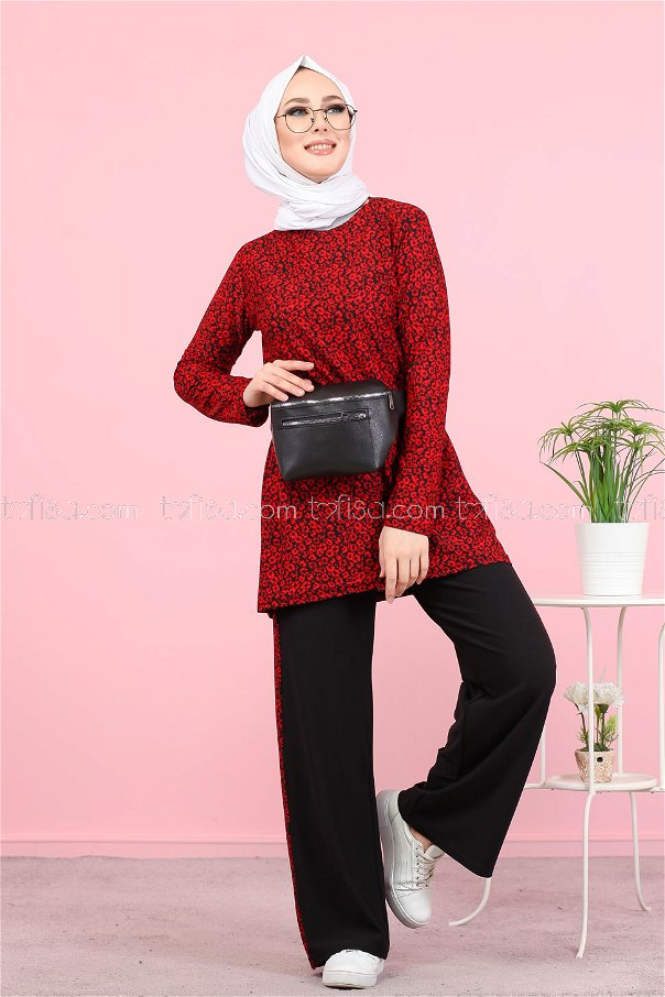 Tunic and Pants Red - 3073