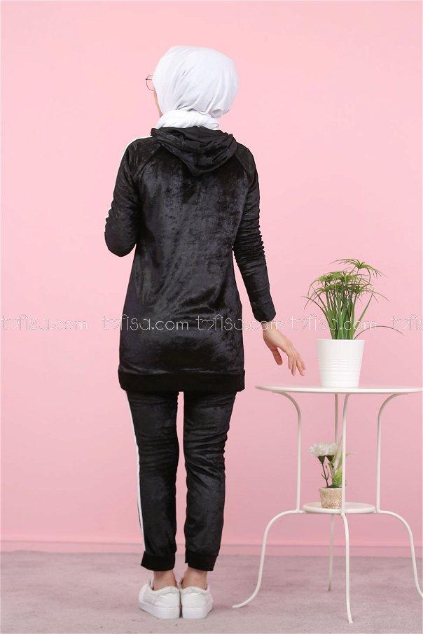 Tunic and pants Velvet black - 8187