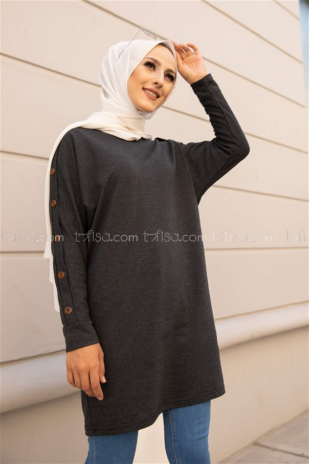 Tunic Button Detailed Anthracite - 2811