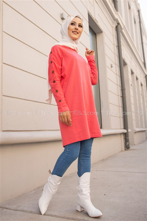 Tunic Button Detailed Coral - 2811