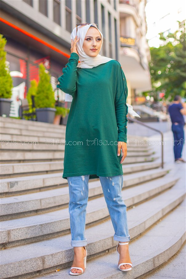 Tunic Button Detailed Emerald - 2811