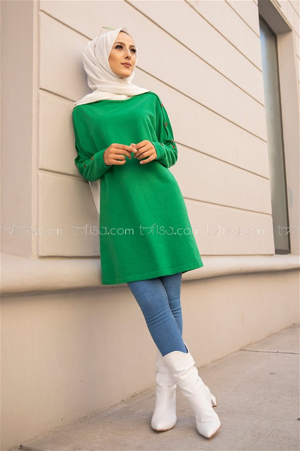 Tunic Button Detailed Green - 2811