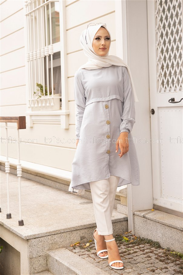 Tunic Button Detailed Light Grey - 3021