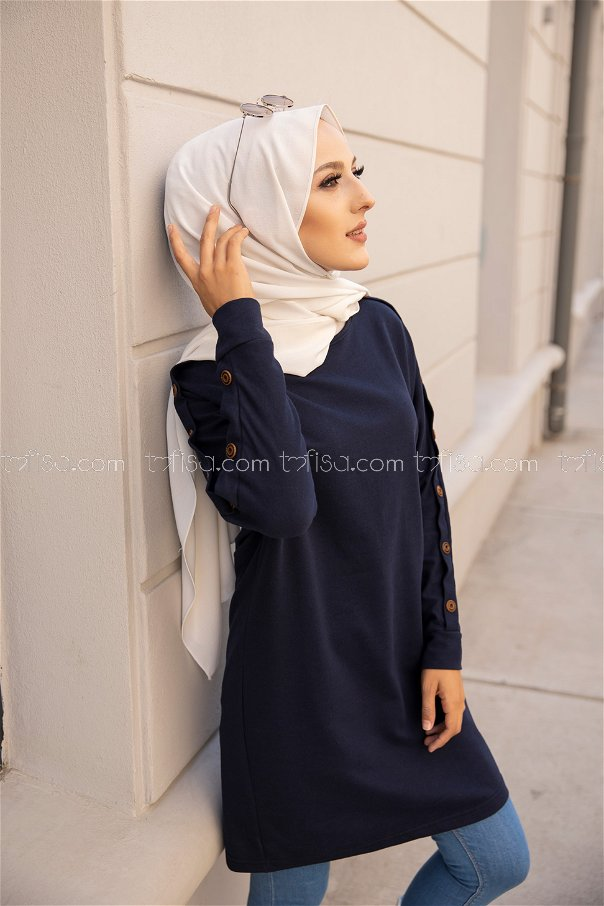 Tunic Button Detailed Navy Blue - 2811