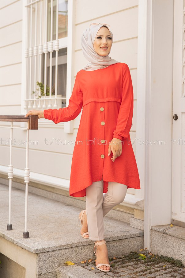 Tunic Button Detailed Pomegranate Flower - 3021