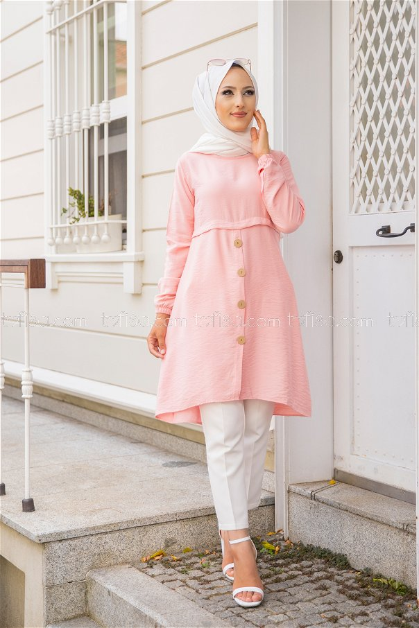 Tunic Button Detailed Powder - 3021