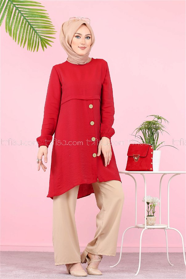 Tunic Button Detailed Red - 3021