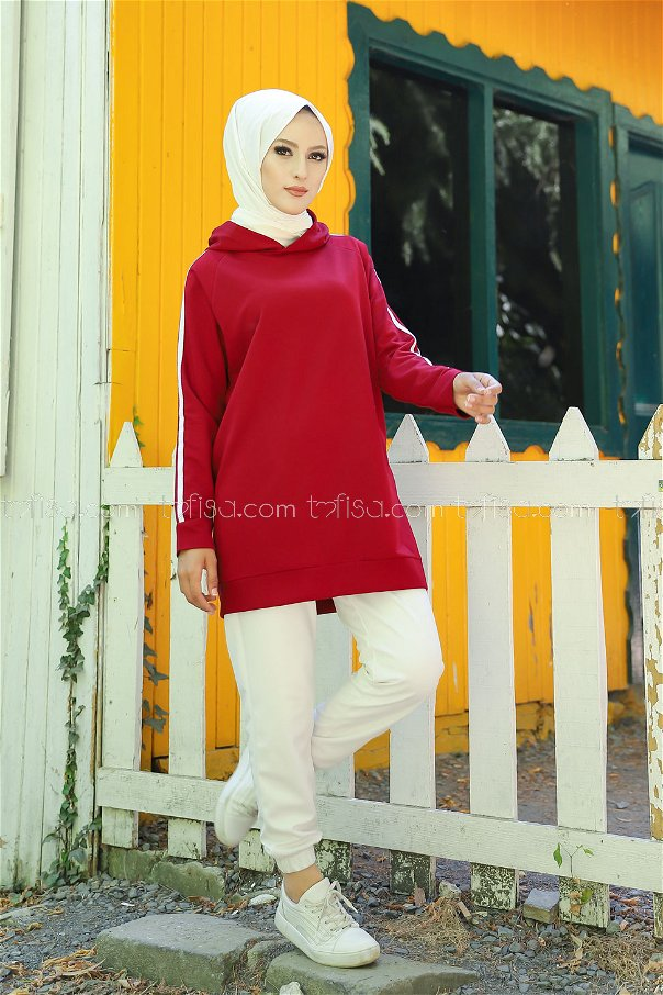 Tunic Sleeve Striped Claret Red - 2828