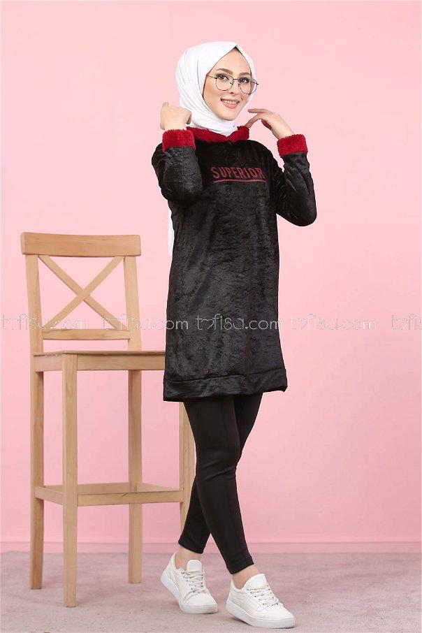 Tunic Detailes Plush black - 7996