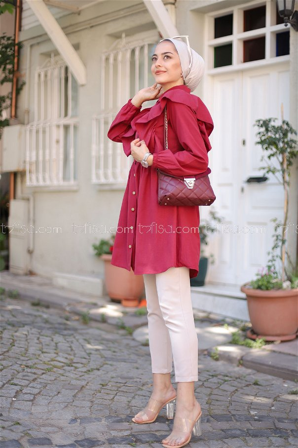 Tunic Frilly Claret Red -3126
