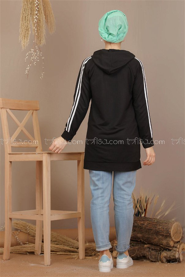 Tunic hooded banded black - 7912