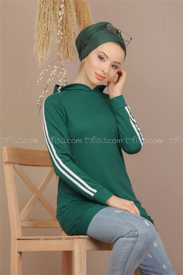 Tunic hooded banded Emerald - 7912