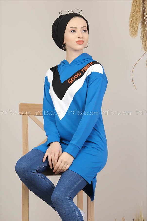 Tunic hooded blue - 02 7688