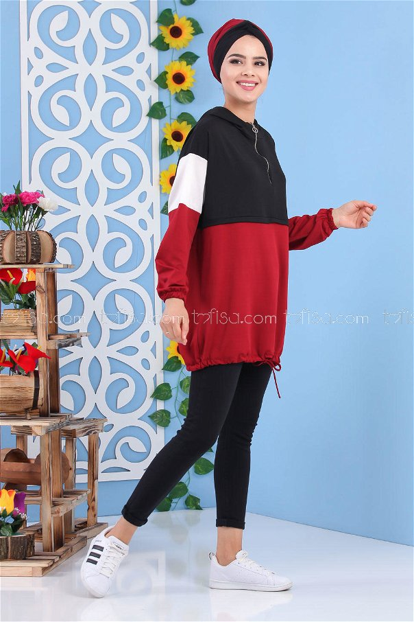 Tunic Hooded Claret Red - 02 7215