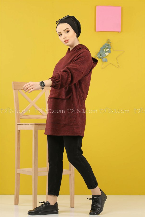 Tunic Hooded claret red - 5230