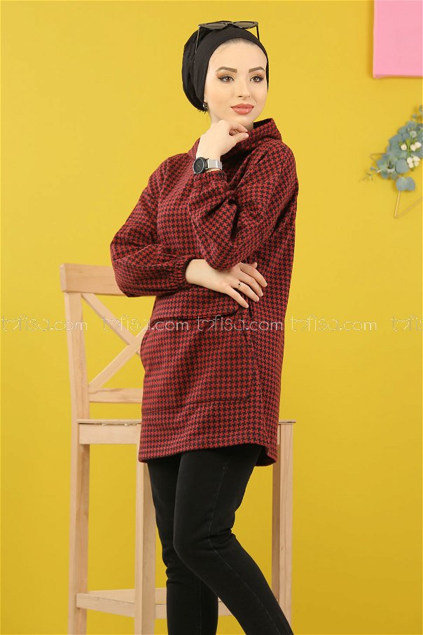 Tunic Hooded claret red - 5231