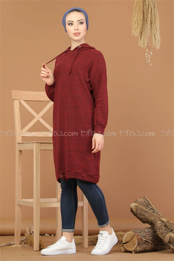 Tunic Hooded claret red - 8202