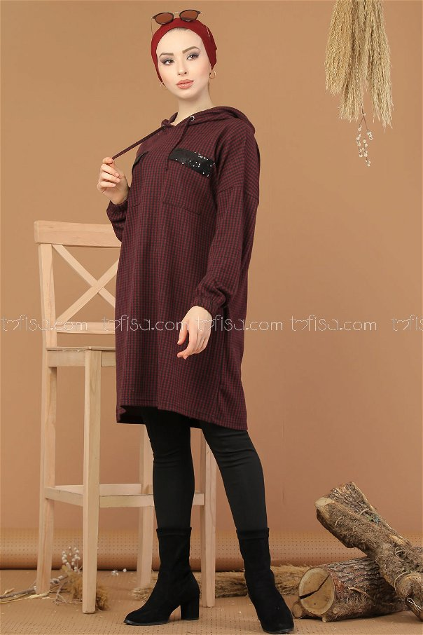 Tunic Hooded claret red - 8205