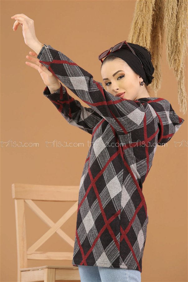 Tunic Hooded claret red - 8257