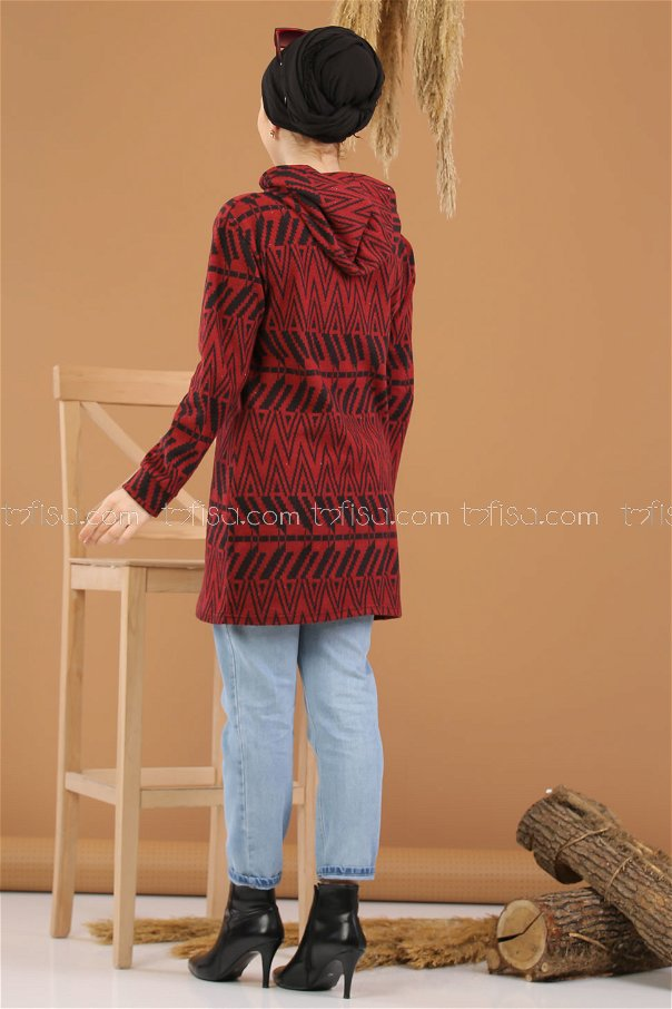 Tunic Hooded claret red - 8258