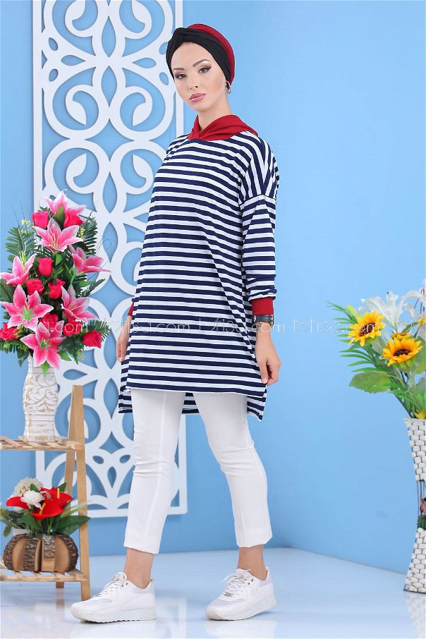 Tunic hooded navy blue claret red - 02 7636