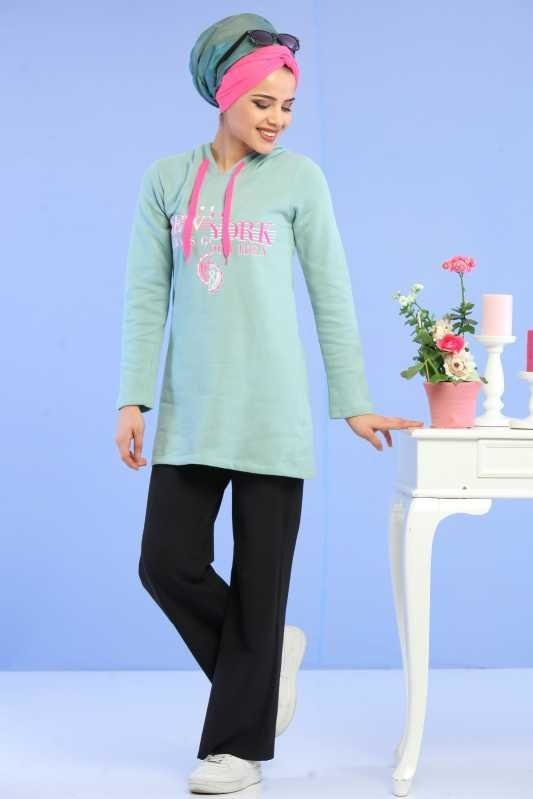 Tunic Hooded printed Mint - 02 6688