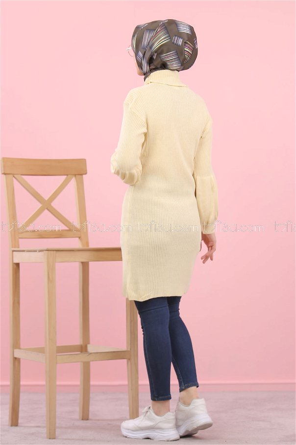 Tunic Knitwear Neck collar Cream Color - 8232