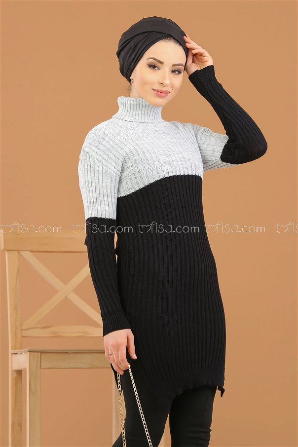 Tunic Knitwear throated black gray - 8274