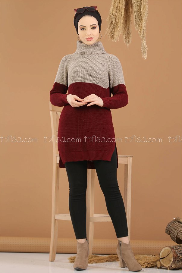Tunic Knitwear throated claret red - 8259