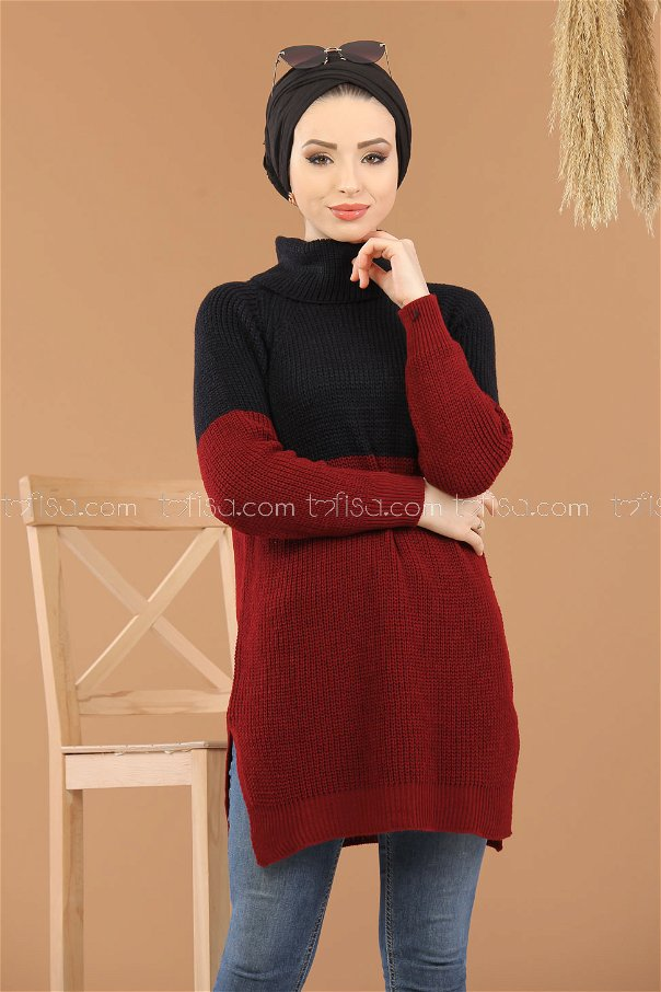 Tunic Knitwear throated claret red black - 8259