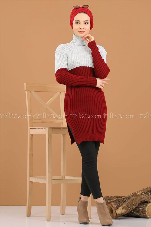 Tunic Knitwear throated claret red gray - 8274