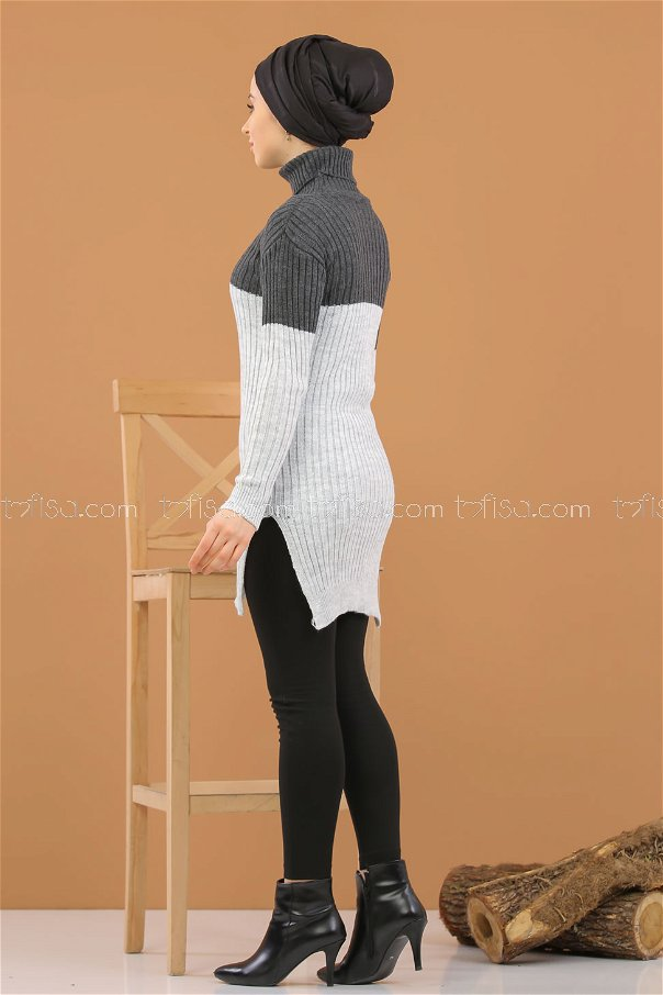 Tunic Knitwear throated gray Anthracite - 8274