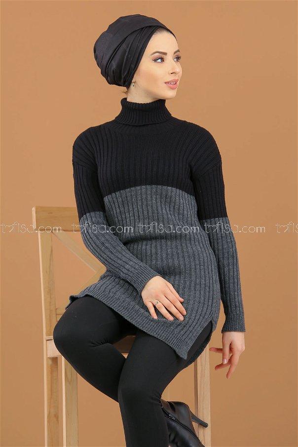 Tunic Knitwear throated gray black - 8274