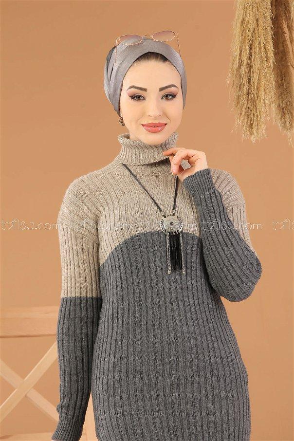 Tunic Knitwear throated gray mink - 8274