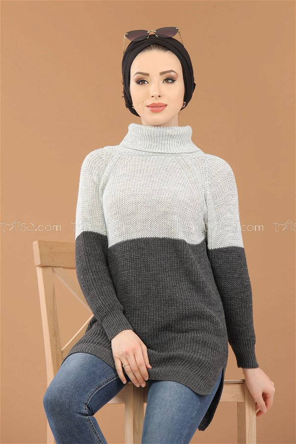 Tunic Knitwear throated gray white - 8259