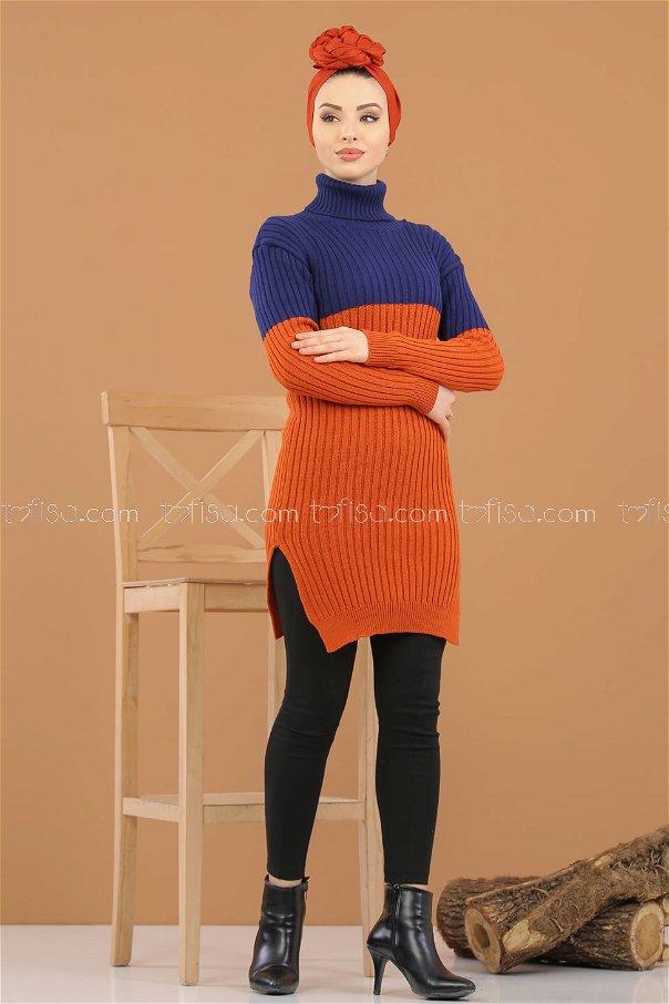 Tunic Knitwear throated Orange navy blue - 8274