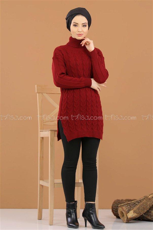 Tunic Neck collar claret red - 8318