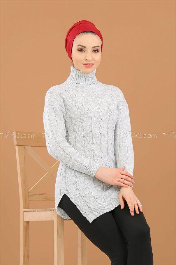 Tunic Neck collar gray - 8318