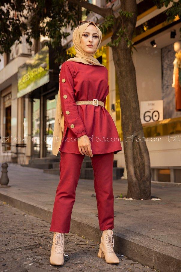 Tunic Pant Belt Claret Red - 2792